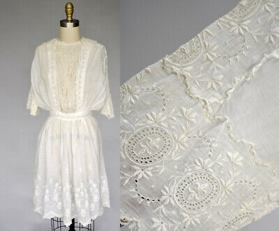 ea0528de24 VTG Antique Edwardian White Cotton Dress Gown Lace fleur de lis Embroidery  XS