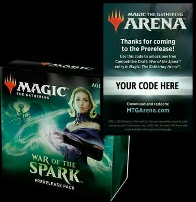 War of the Spark FREE Draft Code Magic Arena MtG from Prerelease Kit EMAIL cny