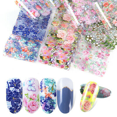 Flower Transfer Nail Foil Holographic Decals Manicure Decor Nail Art Stickers