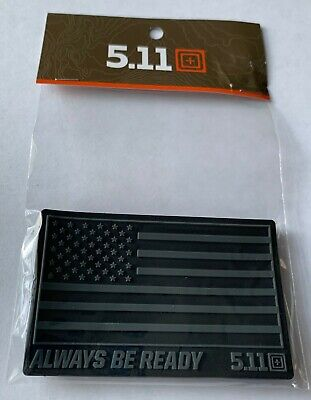 Black US Flag Always Be Ready PVC 5.11 Tactical Hook and Loop Morale Patch