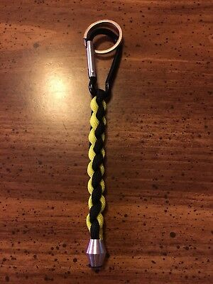 550 Paracord 4 braid Neon Yellow&Black with Aluminum Carabiner clip and bead.