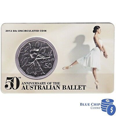 2012 RAM UNC 50c 50TH ANNIVERSARY OF THE AUSTRALIAN BALLET COIN ON CARD