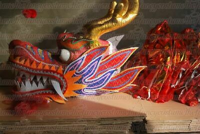 aba6b6592 7M 6 student Red Gold dragon dance costume Party stage costume Prop parade  cloth