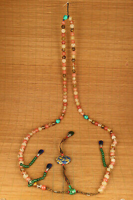 unique Chinese qing dynasty natural crystal minister court beads necklace