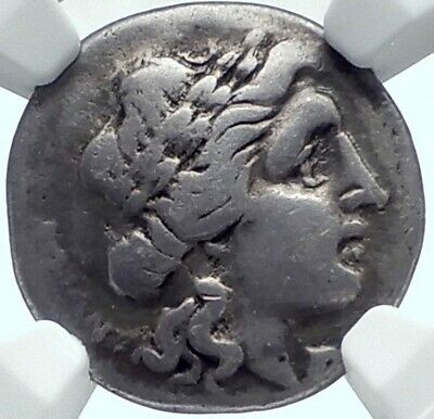 THESSALIAN LEAGUE Larissa Thessaly 2-1CenBC Silver Greek Coin APOLLO NGC i78001