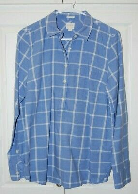 ea77366e78b857 J. CREW FACTORY Blue Plaid Button Down Shirt Small S Cream Crinkle ...