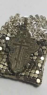 ANCIENT RELIGIOUS AUTHENTIC VIKING ERA MEDIEVAL BRONZE CROSS in CHAINMAIL POUCH