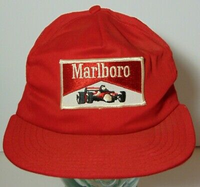8197d184 Vtg 1980s MARLBORO CIGARETTES INDY RACING PATCH SNAPBACK TRUCKER HAT MADE  IN USA