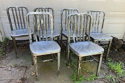 Set Of 6 General Fireproofing Goodform Chairs Aluminum Industrial Chic EMECO