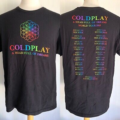 """COLDPLAY (2016) Official """"A Head Full Of Dreams"""" Concert Tour Dates T-Shirt XL"""