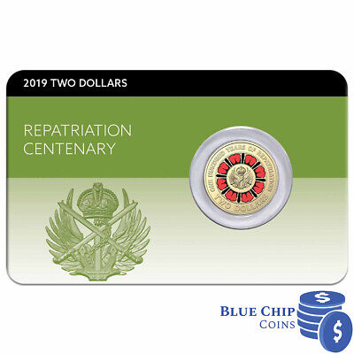 2019 $2 Lest We Forget Centenary of Repatriation Coin on Card