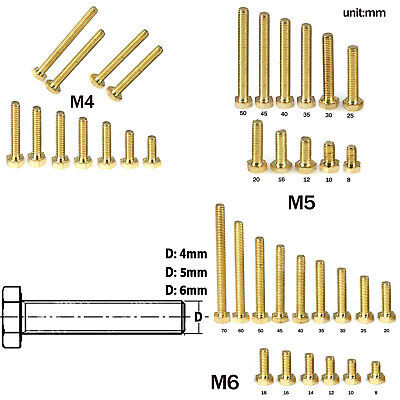 M4 M5 M6 (8~70mm) Brass Hexagon Hex Flat Head Screws Fully Threaded Metric Bolts