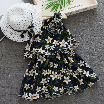Infant Baby Kids Girls Sleeveless Flowers Princess Dresses Bow+Hat Set Outfit