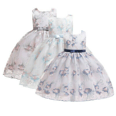 Kids Baby Girls Flower Embroideried Princess Party Performance WeddingTutu Dress