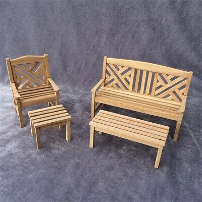 dollhouse miniatures furniture Lot Bench Outdoor Terrace Patio Chair Wood 1:12