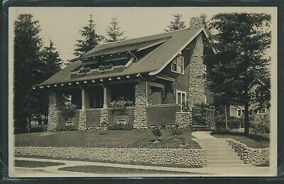 RPPC 1910's BEAUTIFUL ARTS & CRAFTS BUNGALOW with FIELD STONE SUPPORTS & CHIMNEY