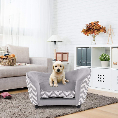 Large Dog Bed Wooden Frame Comfort Elevated Pet Seat Deluxe Sofa Orthopedic