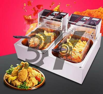 220V 12L Dual Tank Commercial Electric Deep Fryer Fast Food Frying Machine