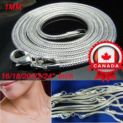 """16/18/20/22/24"""" Inch 1MM  Sterling Silver Snake Chains Jewelry Charms Necklace"""