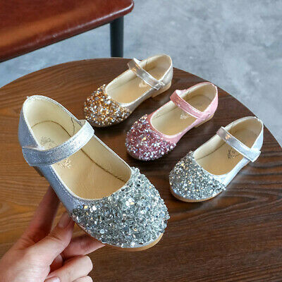 Kids Infant Baby Girls Crystal Leather Single Shoes Party Bling Princess Shoes