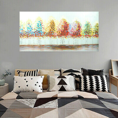 Hand Painted Art Canvas Oil Painting Abstract Home Decor Framed Colorful Trees