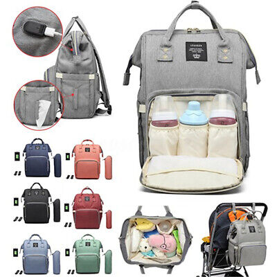 LEQUEEN USB Waterproof Mummy Baby Diaper Bag Travel Maternity Nappy Backpack