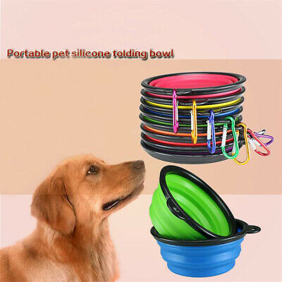 New Silicone Cat Dog Pet Feeding Bowl Water Dish Feeder Travel Collapsible