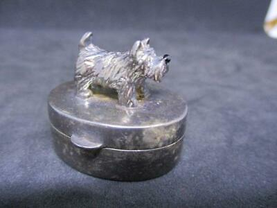 Vintage Solid Sterling Silver 925 Hallmarked Pill Box With Scottish Terrier Dog