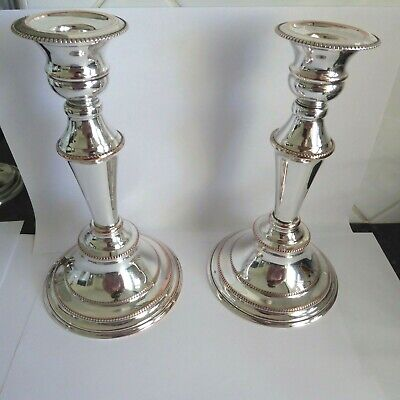 Heavy Pair Of Vintage  Silver Plate On Copper  Candlesticks 7.75 Inches Gleaming