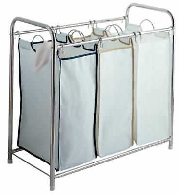 Chrome Laundry Sorter with 3 removable canvas compartments