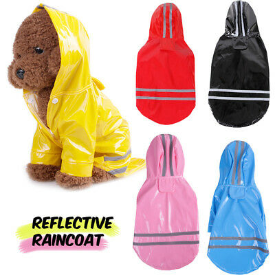 Pet Dog Rain Coat Hooded Waterproof Jacket Reflective PU Raincoat For Small Dogs
