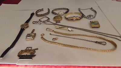 Antique Vtg 11 Piece Lot Wrist Watch Indian Band Tips Pocket Watch Chain Fob