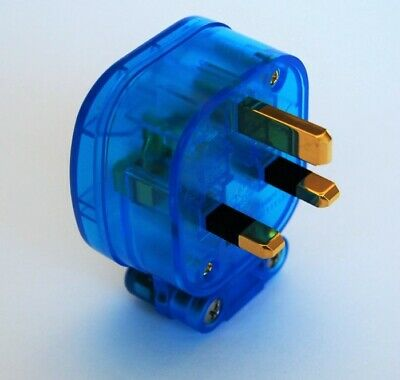 MS HD Power MS-328GK 'The Blue' Gold 13A UK Mains Plug