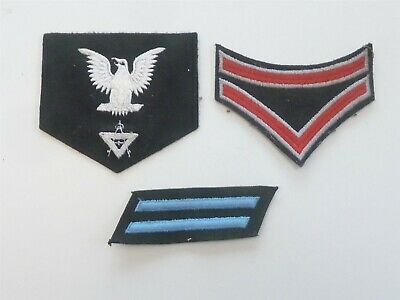 3 Genuine Us Navy Wwii / Ww2 Ratings Cloth Badges Patches