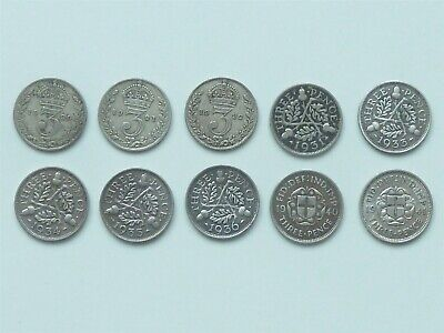 BULK LOT OF 10 DIFFERENT DATE SILVER 3d THREEPENCES 1920 ON