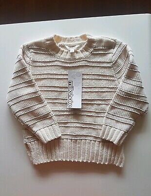 Milkshake Cable Knit Pink Glitter & Ivory Jumper Size 4- Brand New- Free Post