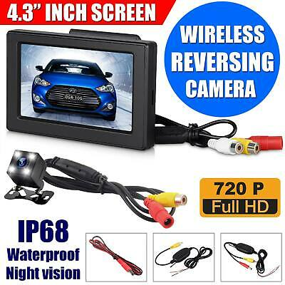 Wireless IR Reversing Parking Camera 4.3? LCD Monitor Foldable Car Rear View Kit