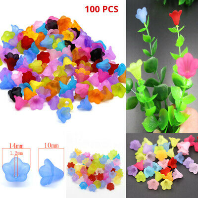 100pcs Mixed Flower Frosted Acrylic Spacer Beads Cap For Jewelry Making 14mm Hot