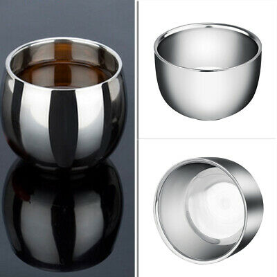 Double Layer Stainless Steel Metal Men Shaving Mug Bowl Cup For Shave Brush New