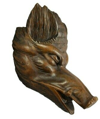Antique French Black Forest Carved Wood Wild Boar Head Hunt Trophy