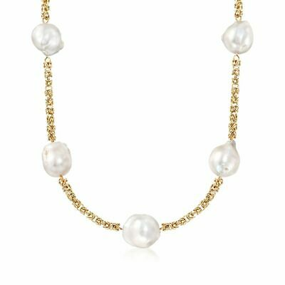 Cultured White Baroque Pearl Byzantine Chain Necklace Real 14K Yellow Gold