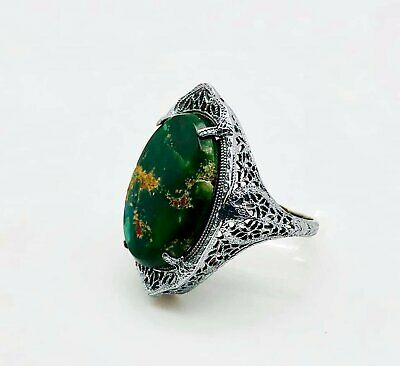 Beautiful Art Deco Solid 14k White Gold Filigree and Turquoise Ring! Size 6!