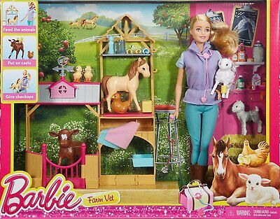 Barbie Multi, Careers Farm Vet Doll & Playset Brand New Fast Postage