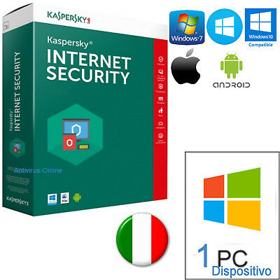 Kaspersky Internet Security 2019 1Pc  Originale 365Giorni-Invio Per Email