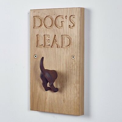 DOG Lead Wall Hook - Handmade English Oak Peg Hanger Wood NEW PUPPY Collar Leash
