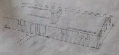 H 1960's House Home Rendering Mid Century MCM