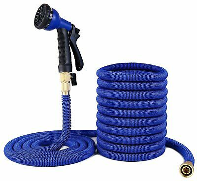 75 FT Expandable Flexible Garden Water Hose Brass Retractable Watering NEW