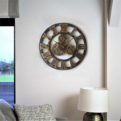 Large Metal Skeleton Wall Clock Antique gold Home Decor Round 40cm Indoor W7A0K