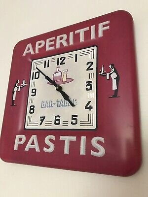 French Cafe Wall Clock Aperitif Metal Tin Sign Vintage Retro Diner Kitchen Red
