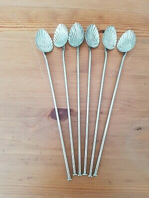 Set Six Italian White Metal Cocktail/ Tall Glass Stirers